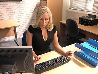 AnySex Porno - Slutty Secretary Millie Fenton Spreads Legs And Shows Upskirt Under The Table