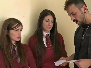BravoTube Porno - Two Babes In A School Uniform Get Banged By A Bad Guy